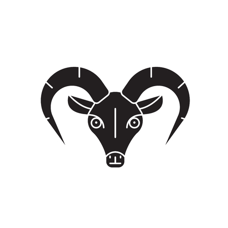 Capricorn black vector concept icon. Capricorn flat illustration, sign, symbol