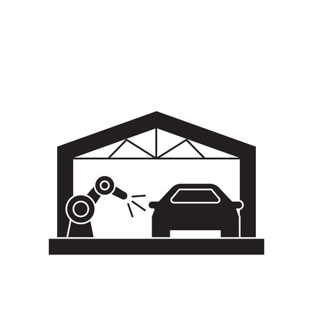 Car assembly line black vector concept icon. Car assembly line flat illustration, sign, symbol