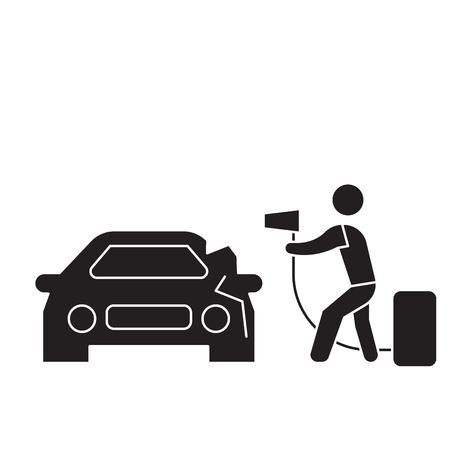 Car foaming black vector concept icon. Car foaming flat illustration, sign, symbol