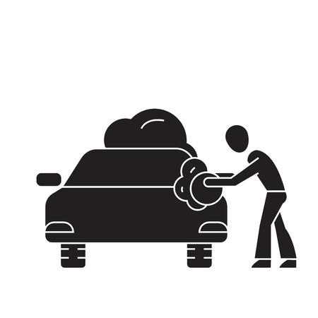 Car washing black vector concept icon. Car washing flat illustration, sign, symbol Illustration