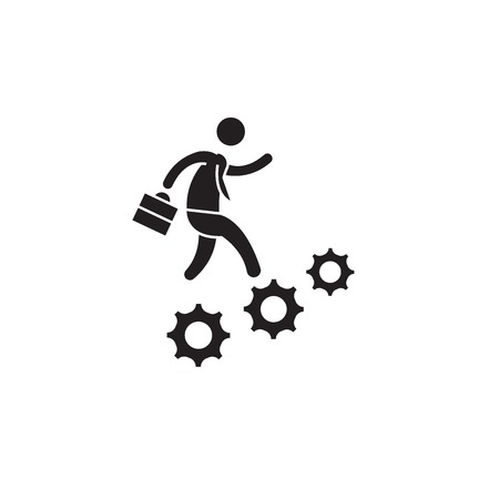 Career advancement black vector concept icon. Career advancement flat illustration, sign, symbol Çizim