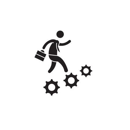 Icono de concepto de vector negro de avance de carrera. Ilustración plana de avance profesional, signo, símbolo