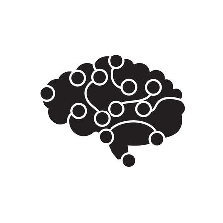Brain power black vector concept icon. Brain power flat illustration, sign, symbol