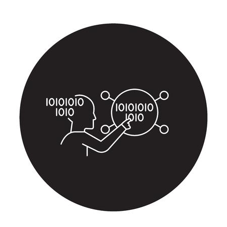 Brain work black vector concept icon. Brain work flat illustration, sign, symbol Ilustrace