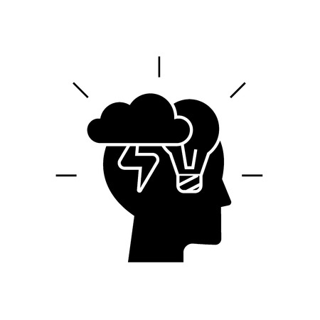 Brainstorm head black vector concept icon. Brainstorm head flat illustration, sign, symbol