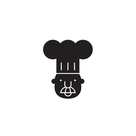 Chef mascot black vector concept icon. Chef mascot flat illustration, sign, symbol Illustration