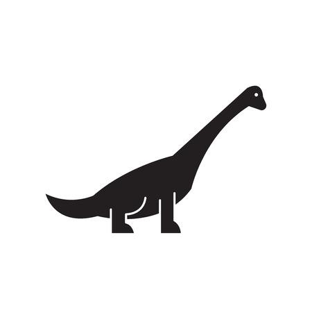 Brachiosaurus black vector concept icon. Brachiosaurus flat illustration, sign, symbol