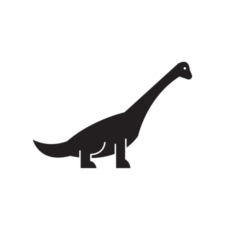 Brachiosaurus black vector concept icon. Brachiosaurus flat illustration, sign, symbol