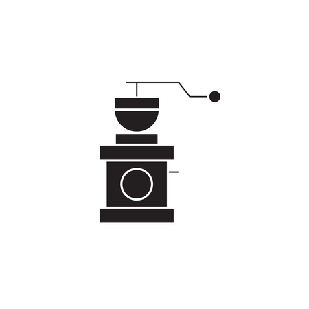 Coffee grinder black vector concept icon. Coffee grinder flat illustration, sign, symbol