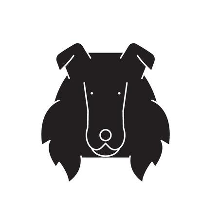 Collie  black vector concept icon. Collie  flat illustration, sign, symbol