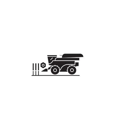 Combine harvester black vector concept icon. Combine harvester flat illustration, sign, symbol