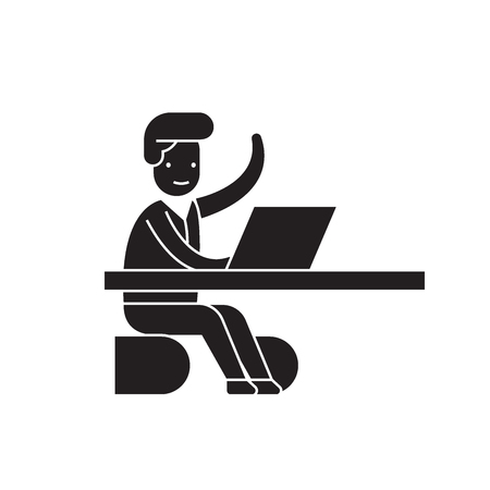 Coming in a moment in office black vector concept icon. Coming in a moment in office flat illustration, sign, symbol Иллюстрация