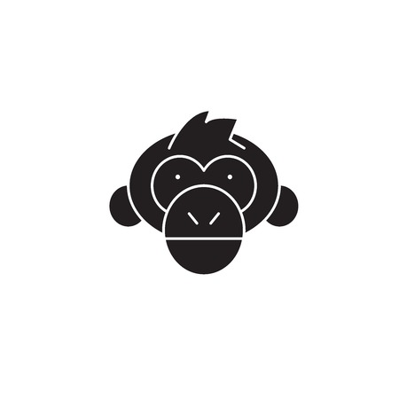 Chimpanzee head black vector concept icon. Chimpanzee head flat illustration, sign, symbol