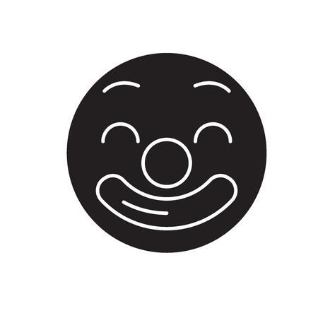 Circus emoji black vector concept icon. Circus emoji flat illustration, sign, symbol Stock Illustratie