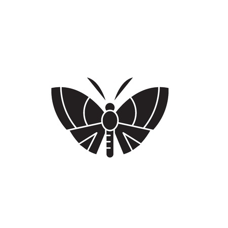 Butterfly black vector concept icon. Butterfly flat illustration, sign, symbol