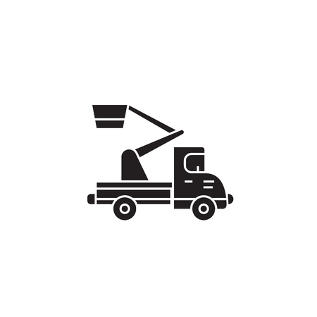 Cherry picker black vector concept icon. Cherry picker flat illustration, sign, symbol