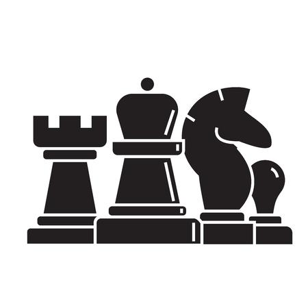 Schaken, paard, toren, pion, koningin zwart vectorconcept icoon. Schaken, paard, toren, pion, koningin vlakke afbeelding, teken, symbool