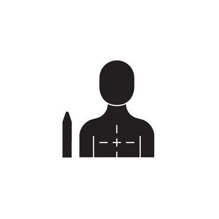Chest diseases black vector concept icon. Chest diseases flat illustration, sign, symbol Illustration