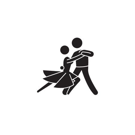 Classical dance black vector concept icon. Classical dance flat illustration, sign, symbol