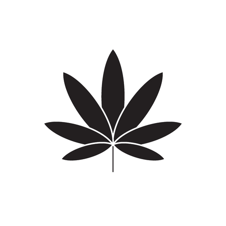 Cannabis black vector concept icon. Cannabis flat illustration, sign, symbol