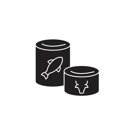 Canned goods black vector concept icon. Canned goods flat illustration, sign, symbol