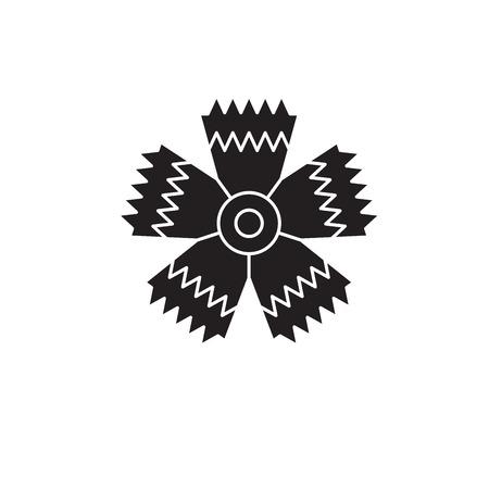 Carnation flower black vector concept icon. Carnation flower flat illustration, sign, symbol