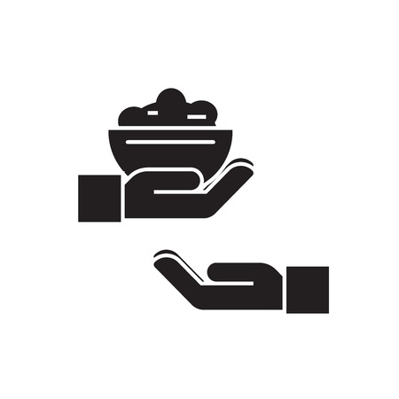 Cook somebody black vector concept icon. Cook somebody flat illustration, sign, symbol