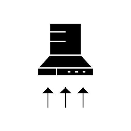 Cooker hood black vector concept icon. Cooker hood flat illustration, sign, symbol