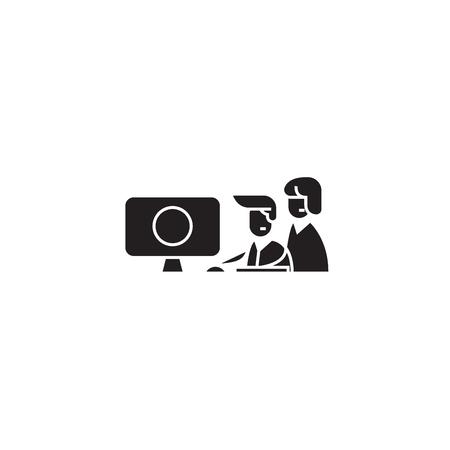Coordination work black vector concept icon. Coordination work flat illustration, sign, symbol