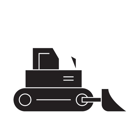 Construction bulldozer black vector concept icon. Construction bulldozer flat illustration, sign, symbol