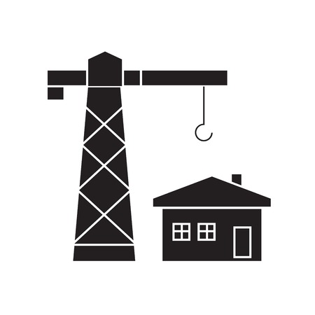 Construction residental house black vector concept icon. Construction residental house flat illustration, sign, symbol