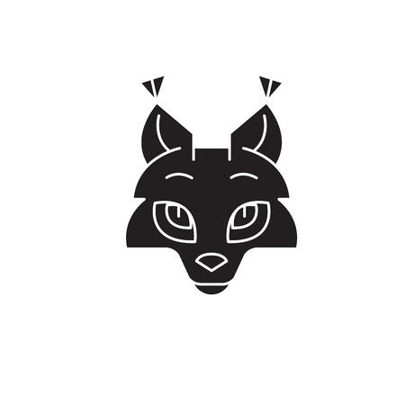 Coyote head black vector concept icon. Coyote head flat illustration, sign, symbol
