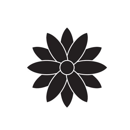 Calendula black vector concept icon. Calendula flat illustration, sign, symbol