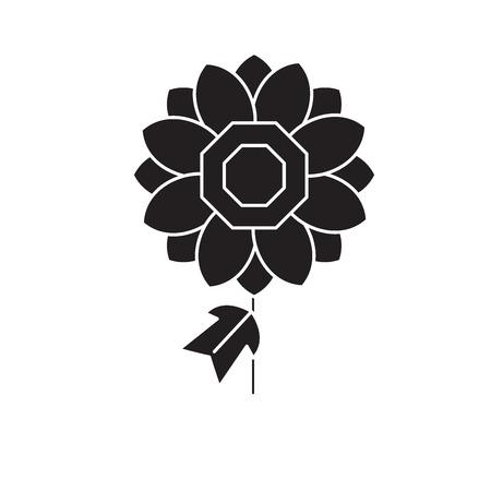 Dhalia black vector concept icon. Dhalia flat illustration, sign, symbol