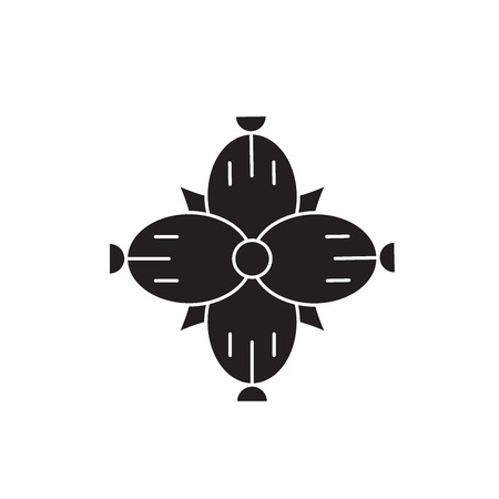 Dianthus black vector concept icon. Dianthus flat illustration, sign, symbol  イラスト・ベクター素材