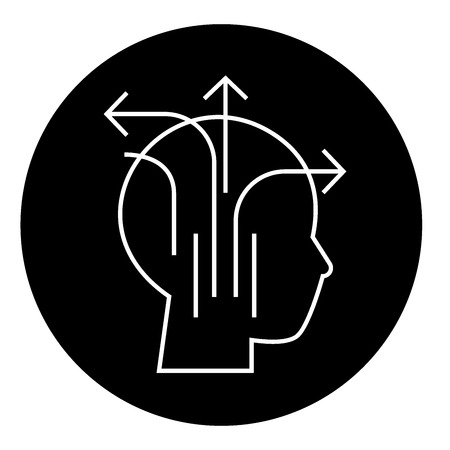 Different business thinking black vector concept icon. Different business thinking flat illustration, sign, symbol Çizim