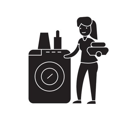 Dish washing machine black vector concept icon. Dish washing machine flat illustration, sign, symbol