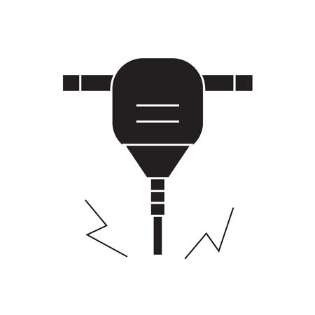 Construction jackhammer black vector concept icon. Construction jackhammer flat illustration, sign, symbol Banque d'images - 113694252