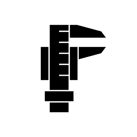 Caliper tool black vector concept icon. Caliper tool flat illustration, sign, symbol