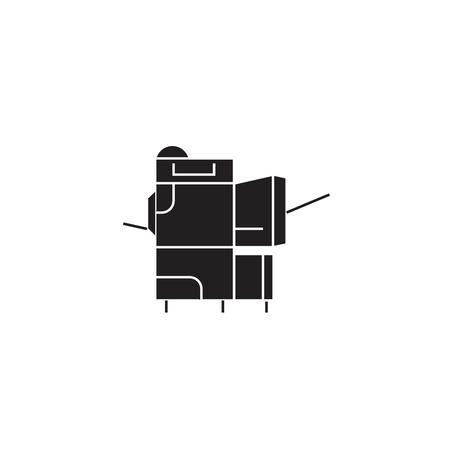 Copier black vector concept icon. Copier flat illustration, sign, symbol