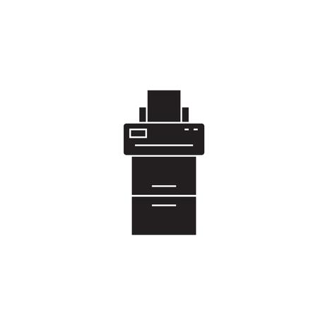 Copy machine black vector concept icon. Copy machine flat illustration, sign, symbol