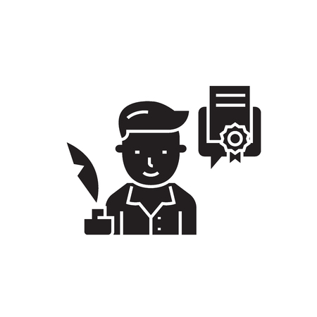 Copywriter black vector concept icon. Copywriter flat illustration, sign, symbol Illustration