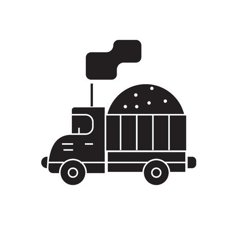 Costruction sand truck black vector concept icon. Costruction sand truck flat illustration, sign, symbol