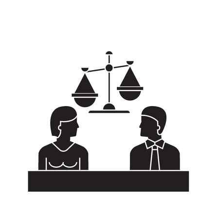 Court black vector concept icon. Court flat illustration, sign, symbol