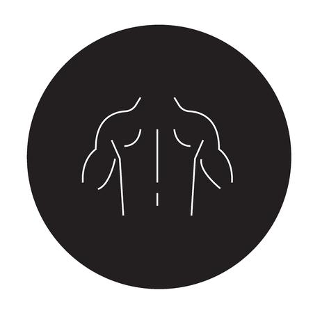 Developed musculature black vector concept icon. Developed musculature flat illustration, sign, symbol