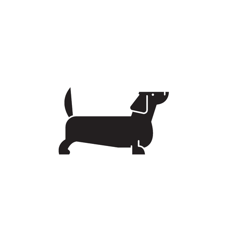 Dachshund black vector concept icon. Dachshund flat illustration, sign, symbol Ilustração