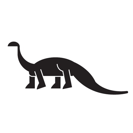 Diplodocus black vector concept icon. Diplodocus flat illustration, sign, symbol Banco de Imagens - 113694259