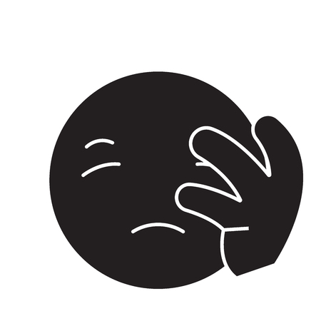 Disapointed emoji black vector concept icon. Disapointed emoji flat illustration, sign, symbol Ilustração