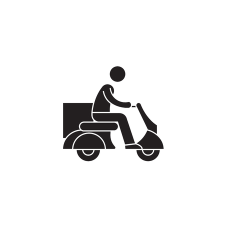 Delivery scooter black vector concept icon. Delivery scooter flat illustration, sign, symbol Banque d'images - 113694261