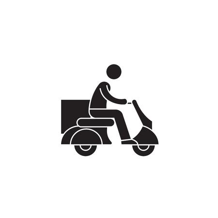 Entrega scooter concepto vector icono negro. Entrega scooter ilustración plana, signo, símbolo Ilustración de vector
